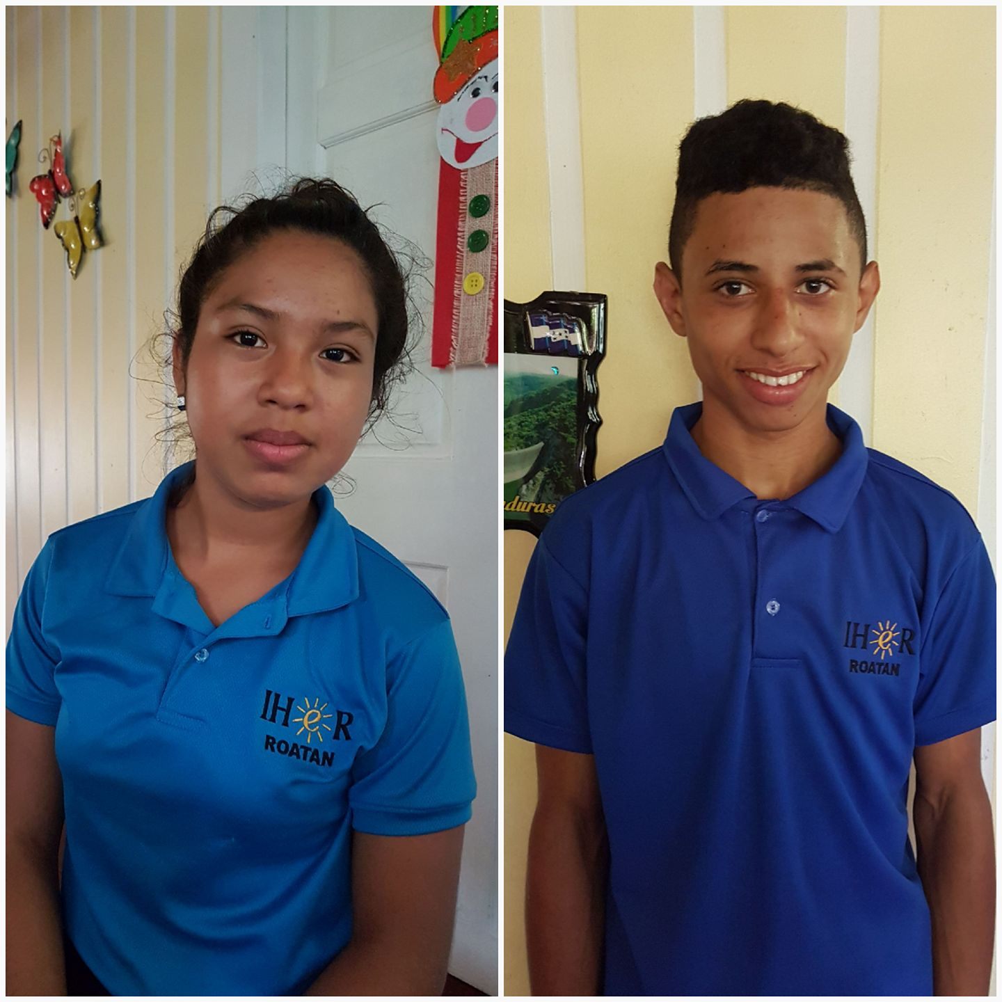 The same teenage boy and girl in school uniforms